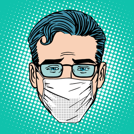 Retro Emoji sore virus infection medical mask face man pop art style  イラスト・ベクター素材