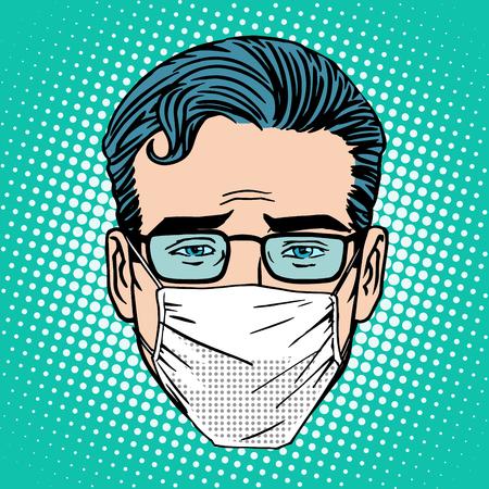 Retro Emoji sore virus infection medical mask face man pop art style Vettoriali