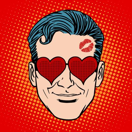enamorados caricatura: Hombre amante de arte de estilo retro Emoji cara pop.