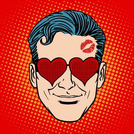 face  illustration: Retro Emoji lover man face pop art style.