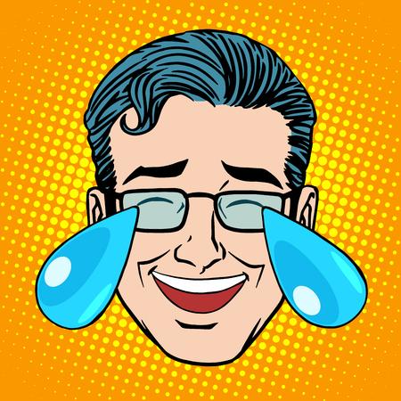 in tears: Retro Emoji desgarra el arte pop estilo hombre cara alegría. Broma risa histérica