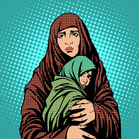 madonna: Mother and child refugees foreigners immigrants pop art retro style. Humanitarian and social issues. War and poverty