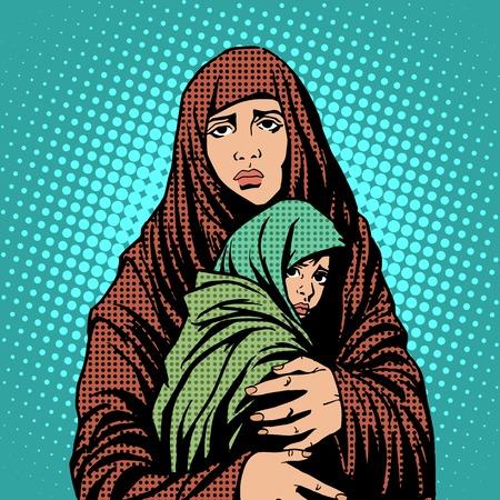 Mutter und Kind Flüchtlinge Ausländer, Einwanderer Pop-Art Retro-Stil. Humanitäre und soziale Angelegenheiten. Krieg und Armut Standard-Bild - 48468643