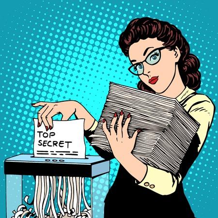 Le destructeur de documents top document secret détruit le style rétro pop art secrétaire. La politique de données de sécurité de stockage des documents des services de sécurité du gouvernement. politicien d'affaires
