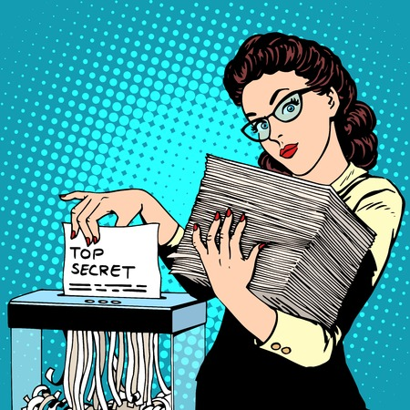 pop art woman: Paper shredder top secret document destroys the Secretary pop art retro style. The policy of the government security services document storage security data. Businesswoman politician