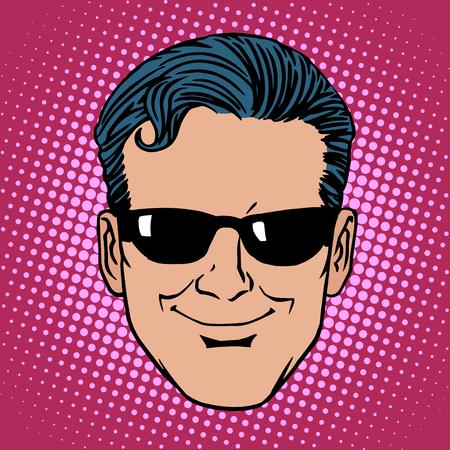 agents: Retro Emoji spy man face pop art style
