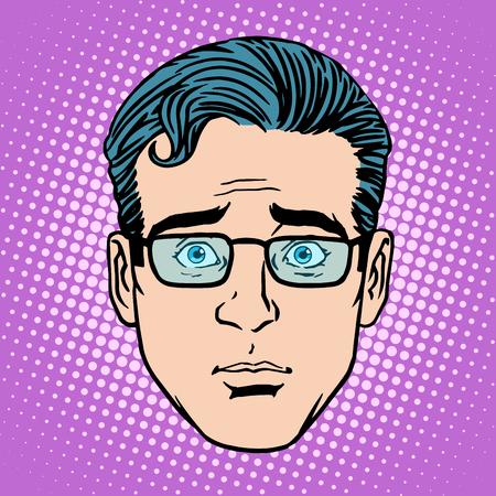 レトロな絵文字驚き男性顔ポップアート スタイル  イラスト・ベクター素材