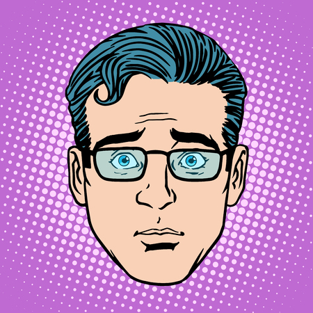 Retro Emoji surprise male face pop art style