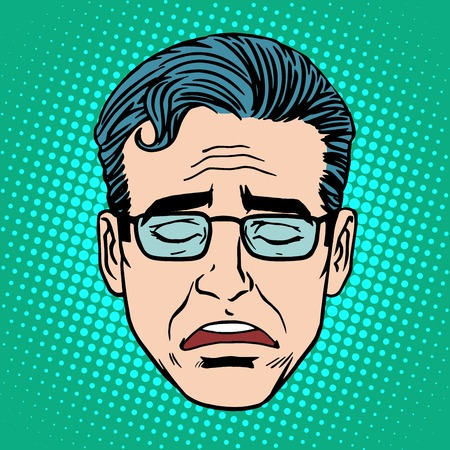 Cara grito estilo de arte retro Emoji hombre pop. Icono trastorno montaña símbolo de las emociones