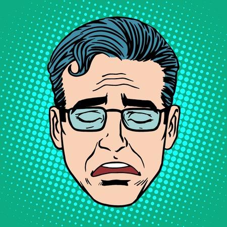 viso di uomo: Retro grido volto stile art uomo schiocco Emoji. Icona disturbo montagna simbolo emozione Vettoriali