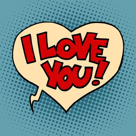 te amo: Corazón cómica de la burbuja te amo estilo del arte pop retro