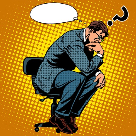 Thinker businessman business concept pop art retro style. Creative thinking the process of the invention idea Vectores