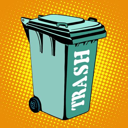 green street: Trash ecology recycling tank pop art retro style