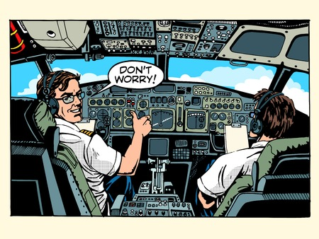 airplane: Aircraft cockpit pilots airplane captain pop art retro style. Aviation and travel