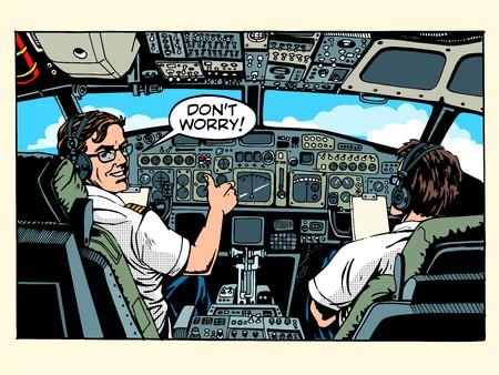 Cockpit piloten vliegtuig kapitein pop art retro stijl. Luchtvaart en reizen Stock Illustratie
