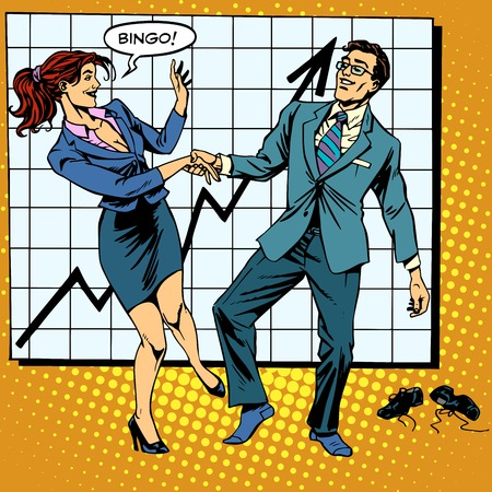 comics: Bingo financial success dance business pop art retro style. Man and woman happily dancing. Graph of growth and profit.