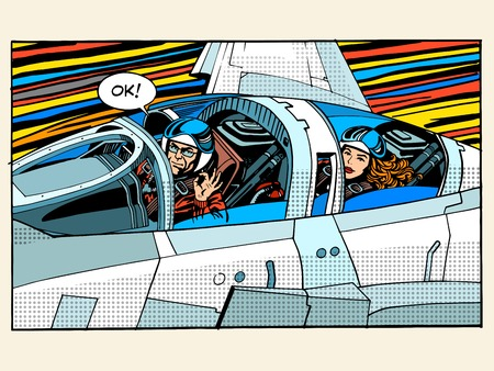 cockpit: fighter plane pilot man woman success aviation pop art retro style. The pilot testers. Sport aircraft. Military aircraft. Business concept success and height Illustration