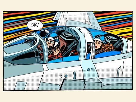 gevechtsvliegtuig piloot man vrouw succes pop luchtvaart art retro stijl. De piloot testers. Sport vliegtuigen. Militaire vliegtuigen. Business concept succes en hoogte