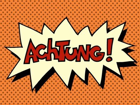 Achtung warning German language pop art retro style Illustration