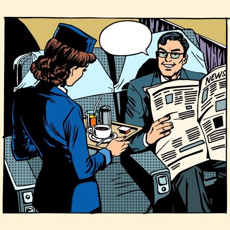 airplane girl: business class plane breakfast stewardess businessman pop art retro style