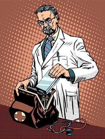 ambulancia: estilo retro del arte pop retro doctor de la ambulancia. Medicina y salud