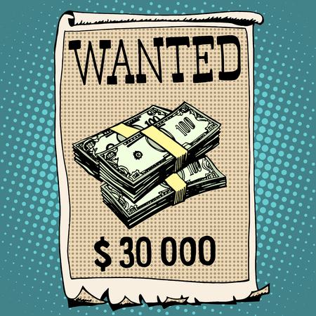 arte moderno: cartel criminal buscado con un estilo retro del arte pop recompensa. Treinta mil d�lares