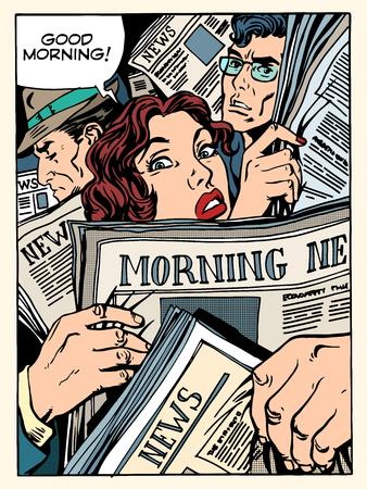 좋은 아침 뉴스 보도 군중 지하철 수송 버스 팝 아트 복고 스타일. 아침 신문. 도로 및 승객에 관