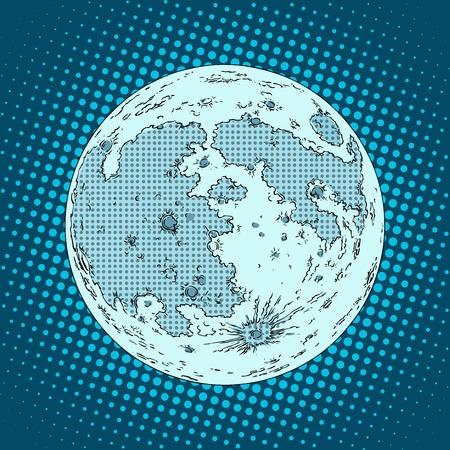 astronautics: moon satellite planet pop art retro style. Astronomy and Astronautics