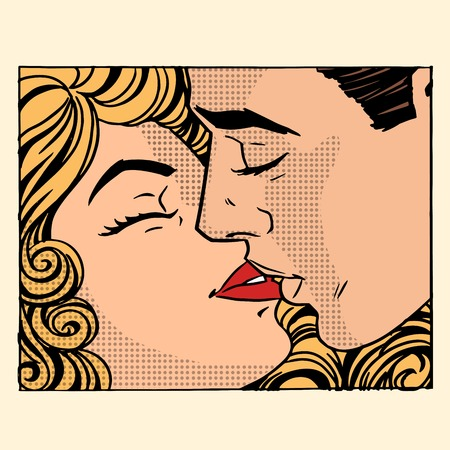 Retro man and woman love couple pop art style