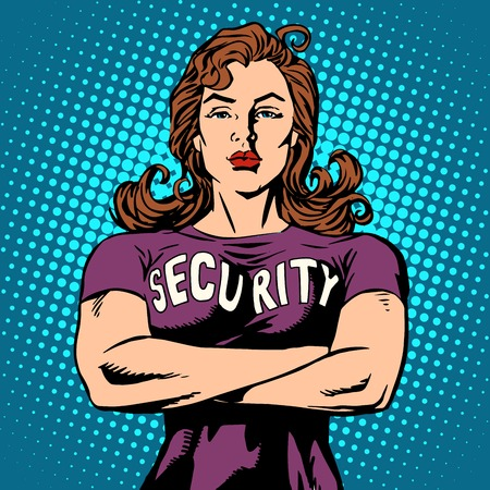 woman security guard pop art retro style. Security Agency protection and sport