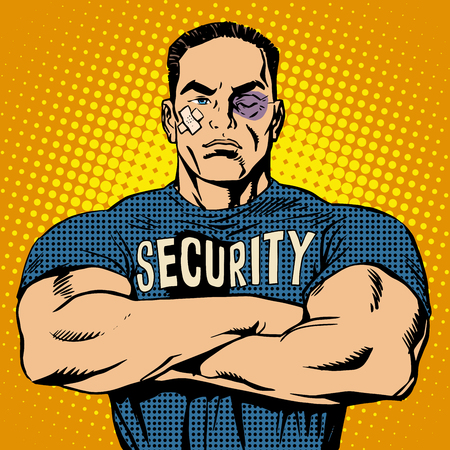 Brutal security guard after a fight pop art retro style. Bruise wound plaster injury. Powerful muscular bodybuilder. Sport and protection