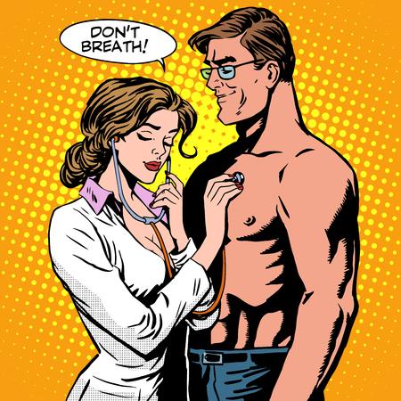 건강 진단 간호사 환자의 호흡 청진. 팝 아트 복고 스타일. 의학 및 건강. 사랑과 관계의 감정과 결혼
