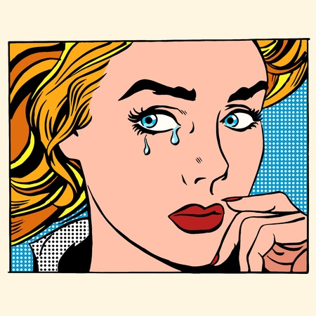 cartoon emotions: Girl crying woman face. Pop art retro style. Caucasian people coarsely face image. Human emotions