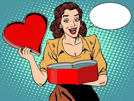 historietas: Amor Regalo romántico corazón placer femenino. Pop estilo retro del arte. Día de San Valentín y la boda. Hermosa mujer de mediana edad emociones humanas caucásicas