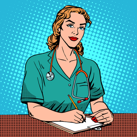 Intern front Desk at the hospital. Pop art retro style. Medicine and health. The reception at the doctor. Adult, middle-aged woman Caucasian Illustration