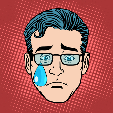 face men: Emoji cry sadness man face icon symbol pop art retro style