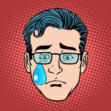 lacrime: grido tristezza uomo viso simbolo icona pop art stile retrò Emoji Vettoriali