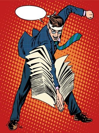 Karate Geschäftsmann Business-Konzept Erfolg Büroarbeit Pop-Art Retro-Stil. Sport und Kampfkunst. Accounting Business Dokumentenmanagement Vektorgrafik
