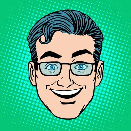 arte moderno: Emoji sonr�en risa la cara del hombre s�mbolo del icono del arte pop de estilo retro