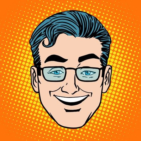 Emoji sourire rire visage homme symbole de l'icône de style rétro pop art