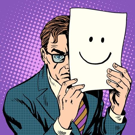 personas enojadas: La hipocres�a de sigilo hosco hombre y sonrisa estilo del arte pop retro. Un hombre adulto esconde sus emociones detr�s de una hoja con una sonrisa. M�scara de la mascarada. La salud psicol�gica