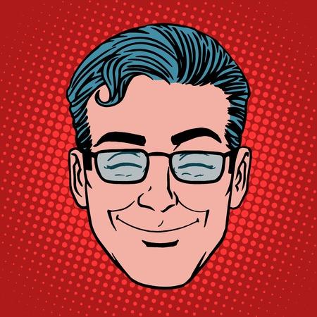 man style: Emoji fun smile man face icon symbol pop art retro style