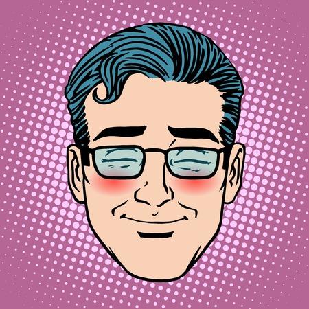 Emoji schaamte schaamte man gezichtje symbool pop-art retro-stijl Stock Illustratie