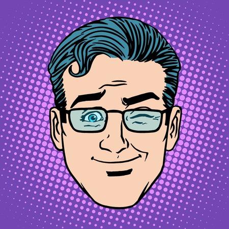 Emoji spel knipoog man gezichtje symbool pop-art retro-stijl