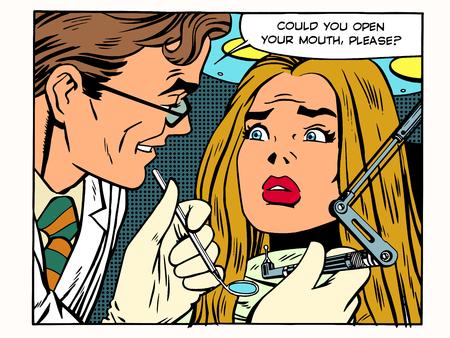 medico caricatura: Medicina Odontología pop médica estilo de arte retro. El dentista le pide al paciente que abra la boca. En la silla de la oficina dental es hermosa paciente, tiene miedo. Higiene bucal salud dental Vectores