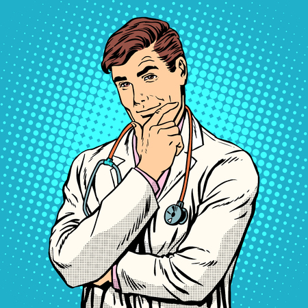Therapist medicine profession pop art retro style. A middle-aged man in a white medical coat with a stethoscope, Caucasian