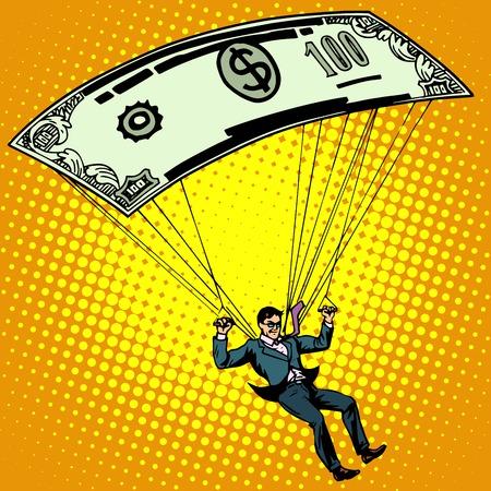 Golden parachute business concept cash compensation pop art retro style. A man descends by parachute money banknote one hundred dollars. Financial success and good profit