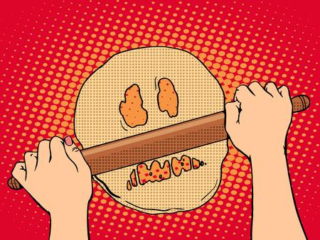 調理パン ポップアート レトロ スタイルの悪い生地。スケルトンの邪悪な顔の形で生地。愛人は、麺棒で生地をロールバックします。