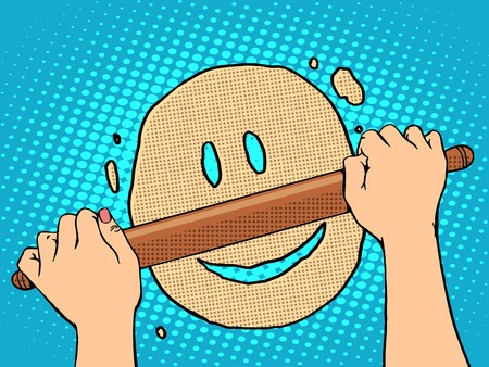 retro housewife: Good dough smiley face pop art retro style. The food and cooking. Housewife rolls out the dough with a rolling pin Illustration