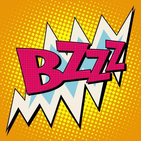 estilo: bzzz burbuja cómica del estilo del arte pop retro del texto del voltaje de la electricidad de la energía